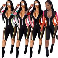 ingrosso gambali sexy clubwear-2019 Primavera Estate Donna Patchwork Tuta Manica lunga Zipper di un pezzo Pantaloni Leggings Moda Mesh Skinny Tuta Sexy Clubwear A413
