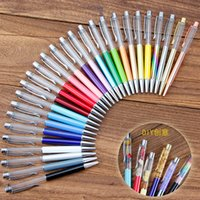 Wholesale ballpoint pens custom logo for sale - Group buy Creative DIY Blank Ballpoint Pen Student Glitter writing pens Colorful Crystal Ball pens custom logo