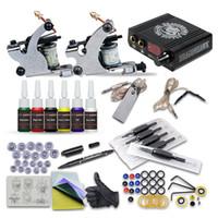 dövmeler tabanca mürekkep setleri toptan satış-Komple Dövme Kitleri 2 Makineli Tüfek Liner Shader 6 Mürekkepleri Mini LCD Güç Kaynağı Acemi Uygulama Kiti