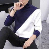 coreano moda masculina camisolas venda por atacado-Novos Anos Ocasional Quente Meia Gola Alta Camisola Dos Homens de Malha Patchwork Blusas Homens Coreano Moda Pullover