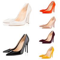 красные нижние насосы для женщин оптовых-С коробкой 2019 Модный дизайнер женской обуви на высоких каблуках 8см 10см 12см Обнаженный черный красный Кожа с острым носом Туфли с низом Насосы Туфли