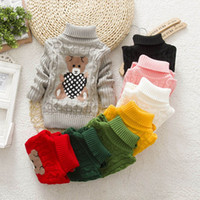 Wholesale knit cardigan outfits for sale - Group buy Children Winter Sweater Long Sleeve Bear Print Knit Crochet Tops Clothes Outfits New Style For Kids Girls Boys M T