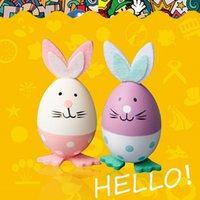 formes de lapin en plastique achat en gros de-Oeuf de forme de lapin de Pâques forme oeuf de lapin 3pcs / set oeufs en plastique peints décoration de la maison Oeuf de forme de lapin de Pâques jouets drôles cadeau pour enfants