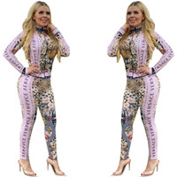 Wholesale zipper zip for sale - Group buy Free Ship New Women Fashion Leopard Print Sweatsuit Casual Slim Zip Neck Jacket and Pants Set Outfits XXL