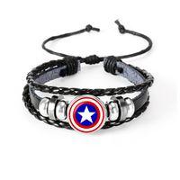 handmade paracord pulseiras venda por atacado-Os Vingadores Superheroes Logotipo Paracord Pulseiras De Couro De Cabochão De Vidro Pulseiras de Multi Camadas Tecer Handmade Do Punk Homens Negros Pulseiras