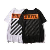 erkekler için turuncu şort toptan satış-Yaz Yeni Ürün Gelgit Kart Turuncu Baskı Severler T-Shirt Eğik Şerit Erkekler Ve Kadınlar Kısa Kollu T T-shirt