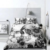 Wholesale red flower print pillowcase resale online - White Skull Bedding Set King Size D Duvet Cover Queen Flower Head Scary Home Deco Single Double Twin Full Bed Cover with Pillowcase