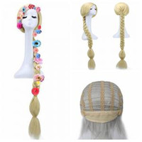 Wholesale hair animation online - Cute Princess Long hair wig Animation Anime Wig tangled wig braid for kids girls party Cosplay Hair Accessories With flowers AAA1583