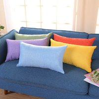Wholesale cushion foam covered for sale - 30 cm Solid Cushion Cover Rectangle Cotton linen Pillow Case Lengthened Pillowcase Car Waist Pillowslip colors AAA1465