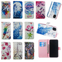 torre eiffel de dibujos animados paris al por mayor-Funda de billetera de cuero 3D para Iphone 11 Nuevo 2019 LG K50 K40 Stylo5 Holder Wolf Paris Eiffel Tower Butterfly Peacock Flower Cartoon Flip Cover