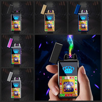 Wholesale electronic fire lighter for sale - Group buy Electronic Cigarette Lighter Windproof Double Fire Cross Twin Arc Pulse Electric Arc Colorful Usb Charge Lighters Colors DBC DH0637
