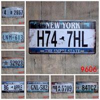 Wholesale plaque plates resale online - Car Metal License Plate Vintage Home Decor Tin Sign Bar Garage Decorative Metal Sign Art Painting Retro Plaque