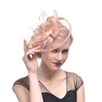 kuş tüyü kuş kafesi peçe toptan satış-Gelin şapkalar Tüy Fascinator El Yapımı Saç Gelin Birdcage Peçe Şapka Düğün Şapka Fascinators Düğün Için Ucuz Femin Saç Çiçekler