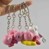 ingrosso mini figure giapponesi-2 Serie 6 Pezzi / Set Mini Kawaii Doll Action Figures Portachiavi 3-4cm PVC Anime giapponese Figura Putitto Kirby Telefono portachiavi Modello Giocattoli L390