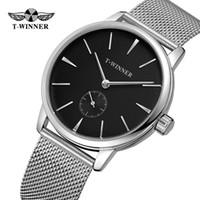 relógio de luxo vencedor venda por atacado-T-WINNER Luxo Moda Masculina Relógio Mecânico Automático Preto Banda de Aço Inoxidável Esporte Relógio de Pulso dos Homens Presentes Relogio Releges