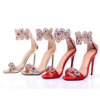 Wholesale women diamond open toe heels resale online - Classic Diamond Wedding Shoes Dancing Party Brand Shoes Sloe Women Pumps High Heel Shoes Pointed Toe CM Stiletto Heel