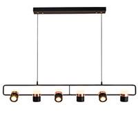 suspensions en cuivre noir achat en gros de-Moderne en cuivre noir élégant design linéaire LED suspension lampe en métal lumières design à la maison lustre de luminaire pour bars salon