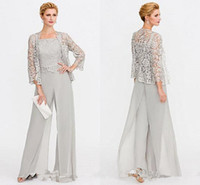 Wholesale mother bride green suits resale online - Newest Gray Mother of The Bride Dresses Two Pieces Lace Jackets Mothers Dresses For Wedding Events Pants Suit Evening Gown BC005
