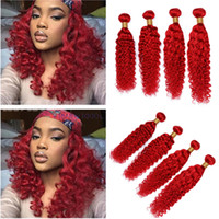 рыжие волосы утки оптовых-Малайзийские человеческие волосы Ярко-красный Глубокая волна Weave Wefts Pure Red Глубокая курчавая волна 4 пучки Малайзийские волосы девственницы 10-30