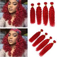tramas de extensão de cabelo vermelho venda por atacado-Malaio Do Cabelo Humano Vermelho Brilhante Onda Profunda Weave Wefts Pure Red Profunda Onda Curly 4 Pacotes Malaio Extensões de Cabelo Virgem 10-30