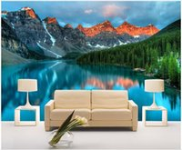 Wholesale mountain decor resale online - WDBH d wallpaper custom photo mural Lake light mountain natural scenery TV background wall Home decor living room wallpaper for walls d