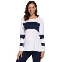 1def1dff5 Autumn Women T-shirt Color Block Splicing Design Round Neck Long Sleeve  Simple Casual Basic Tee Tops Elegant Ladies Tshirt White