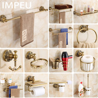 Wholesale antique towel hooks resale online - Antique Bronze Bathroom Accessories All in one Package Towel Bar Towel Ring Toilet Brush Holder Robe Hook Hair Dryer Holder SH190920