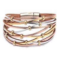 ingrosso braccialetti magnetici avvolgenti-Punk Multilayer Beads Wrap PU Leather Braccialetto 6 colori Bangle Women Design Braccialetto in lega con chiusura magnetica Jewelry Gift DHL FREE