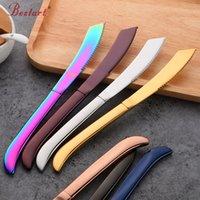 cuchillos de cocina de restaurante al por mayor-7 UNIDS Rainbow Colorful Steak Knife Sharp Set Pulido Acero Inoxidable Cocina Vajilla Restaurante Cubiertos Cuchillo Occidental