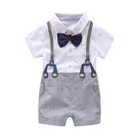 traje de mameluco blanco de bebés al por mayor-Conjunto de ropa formal de verano para bebé recién nacido, arco, boda, cumpleaños, niños, traje general, camisa blanca de mameluco, traje de caballero para niños pequeños