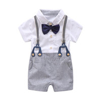 Wholesale baby boys white romper suit for sale - Group buy Newborn Baby Boy Summer Formal Clothes Set Bow Wedding Birthday Boys Overall Suit White Romper Shirt Toddler Gentleman Outfit