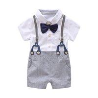 yürümeye başlayan doğum günü kıyafetleri toptan satış-Yenidoğan Erkek Bebek Yaz Resmi Giysi Set Yay Düğün Doğum Günü Boys Genel Suit Beyaz Romper Gömlek Toddler Beyefendi Kıyafet