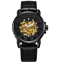 новые конструкции часов оптовых-New Number Sport Design Bezel Golden Watch Mens Watches Top  Montre Homme Clock Men Automatic Skeleton Watch