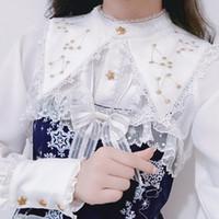 cuello de soporte superior largo al por mayor-Womens Vintage Victorian Blusa Tops Lolita Camisa de manga larga bordado de oro Stand Collar Slim Fit Blanco 4Colors A232