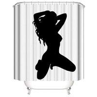 cortinas sexy al por mayor-Personalizado Impermeable negro sexy sombra del cuerpo Divertida mujer dama Cortinas de Ducha Impresión Digital Cortinas de Baño Con Anillos