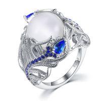 цветок сапфир кольца оптовых-Урожай Fine Jewelry Природные Moonstone Опал Кольца для женщин цветка стерлингового серебра 925 Синий сапфир Gemstone кольца Fine Jewelry