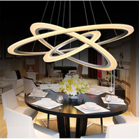 акриловая столовая лампа оптовых-Современные новые светодиодные подвесные светильники круг кольца акриловые металлические светодиодные потолочные светильники для столовой гостиной