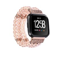 kristal boncuklar saatler toptan satış-Watchbit Bilek Kayışı Için Fitbit Versa Lite Moda Casual Kadın Saat Kayışı Lüks Hediyeler Alaşım Kristal Boncuk Yuvarlak Boncuk