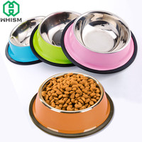 Wholesale stainless steel cat bowls resale online - WHISM Stainless Steel Pet Dog Bowls Single Puppy Cats Eating Feeder Container Drinking Bowl Anti slip Pet Feeding Watering Dish