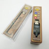 ingrosso filettatura della batteria-900mAh Brass Knuckles Vape Penna batteria con caricatore USB - Oro di preriscaldamento in legno regolabile 510 batterie per filettare olio cartuccia