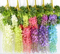 flores para a decoração do teto venda por atacado-Flores de decoração de casamento de teto tira flor Artificial flor de feijão seqüência cor impressão de sete cores falso buquês de flor wisteria longa