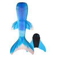 schwimmflossen zum schwimmen großhandel-Mädchen Meerjungfrau Schwanz mit Monoflosse für Schwimmen, Erwachsene Meerjungfrau Badebekleidung Flipper, 2 Stücke Badeanzug Tauchen Fin