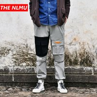 büyük erkekler kargo pantolon toptan satış-Patchwork Joggers Pantolon Erkek 2019 Bahar Hip Hop Kargo Pantolon Erkek Moda Büyük Cep Streetwear Pantolon Siyah Gri WG25