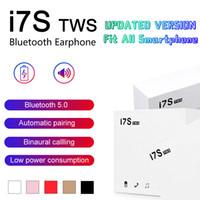 ingrosso mini cuffie stereo senza fili del bluetooth-Cuffie Bluetooth I7 I7S TWS Twins Auricolari Mini Auricolari wireless Cuffie con microfono Stereo V5.0 per telefono Android con pacchetto di vendita