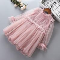 europa kinder mädchen herbst kleidung großhandel-Mädchen Prinzessin Spitzenkleider Baby Mädchen Party Ballkleid Kleid Frühling Herbst Kinder Kleidung für 2-8 Jahre alt Kinder Kleidung