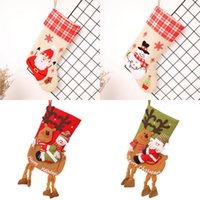Wholesale cartoon christmas socks resale online - Christmas Riding Deer Socks Snowman Gift Candy Socks Xmas Kids Gifts Santa Riding Moose Stocking Christmas Tree Hanging Decoration