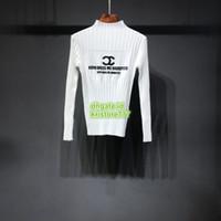 prendas de punto de calidad al por mayor-Semana de Desfile de moda Mujeres Slim Fit Carta de Otoño Multi Impreso Knit Blend Stand Collar La Alta Calidad Prendas de punto Suéter Suéter Blusa