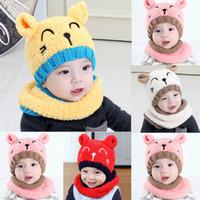 bufanda con capucha de niños al por mayor-2019 Girls Boys Baby Toddler Beanie de invierno Sombrero caliente con capucha Bufanda Earflap Knitted Cap Hot