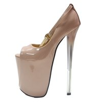40acc5cda02 High Heels Pumps 19 22cm Leather Women Shoes Peep Toe Wedding Shoes Clear  Heels Ankle Strap Sexy Women Platform Pumps Size 34-43
