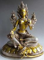 Wholesale tara statue resale online - Art Bronze Decoration Crafts Brass quot Old Gilt Tibet Silver Green Tara Goddess Statue antique Garden Decoration